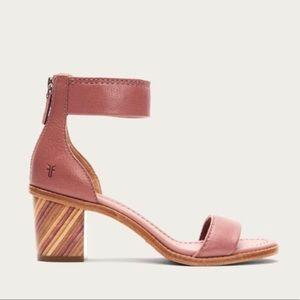 Frye Mauve Pink Brielle Zip Cute Block Ankle Heels